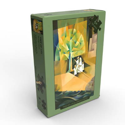 Puzzle box featuring abstract painting of family standing beneath the Tree of Life.