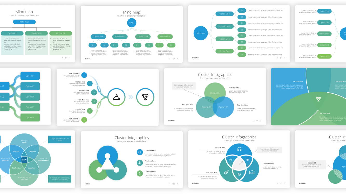 mind map infographic powerpoint template, venn diagram infographic powerpoint template,  cluster infographic powerpoint template,infographic powerpoint template, infographic presentation template