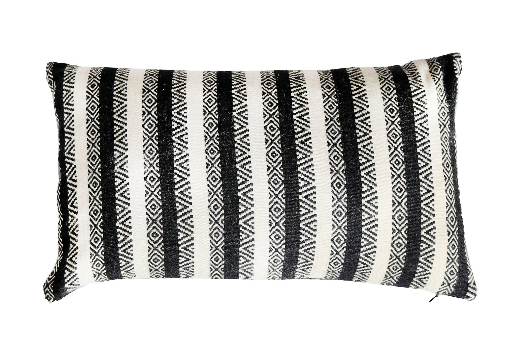jacquard-loomed alpaca diamond stripe pillow in black & white - Stick & Ball