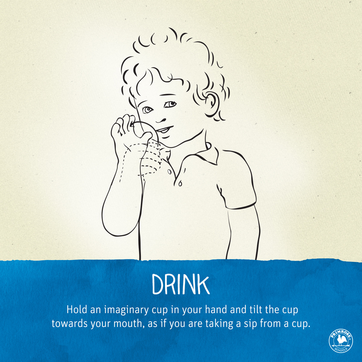 "Illustrated diagram explaining how to sign the word ""drink"""
