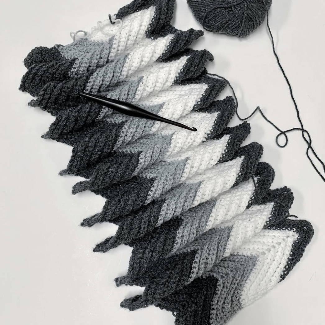 Crochet Ripple made with DK Acrylic Yarn