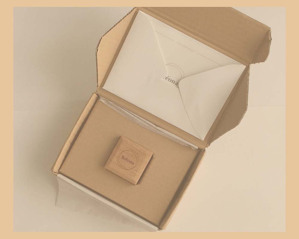 Sceona jewellery box in its handmade delivery sustainable packaging