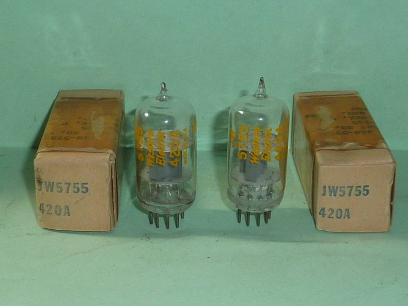 Western Electric 5755 420A Clear Top Tubes, Matched Pair, NOS, NIB, Tested