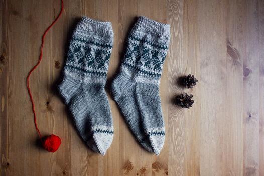 Женские шерстяные носки с узором / Берген