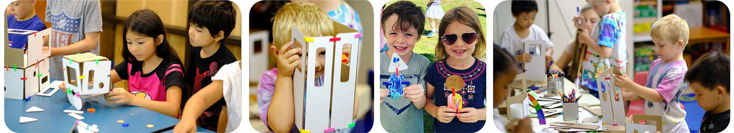 children learing, collaboartion, engineering and STEM playing with cardboard