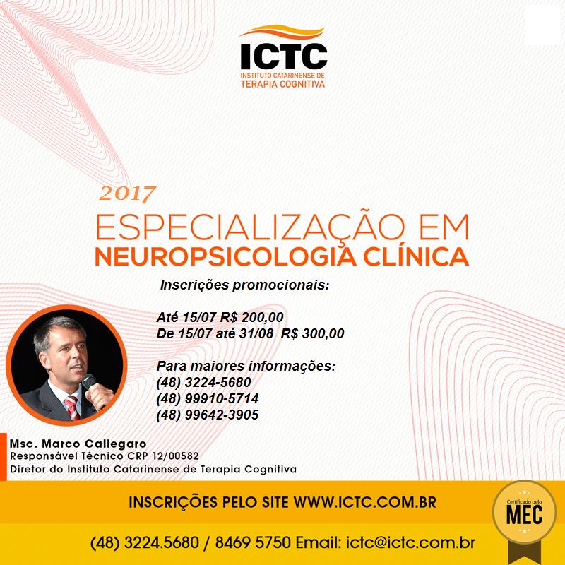 ICTC -Curso de Especialização em Neuropsicologia Clinica - INSCRIÇÕES PROMOCIONAIS