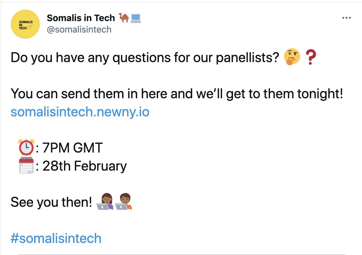 somalis in tech tweet their Newny link