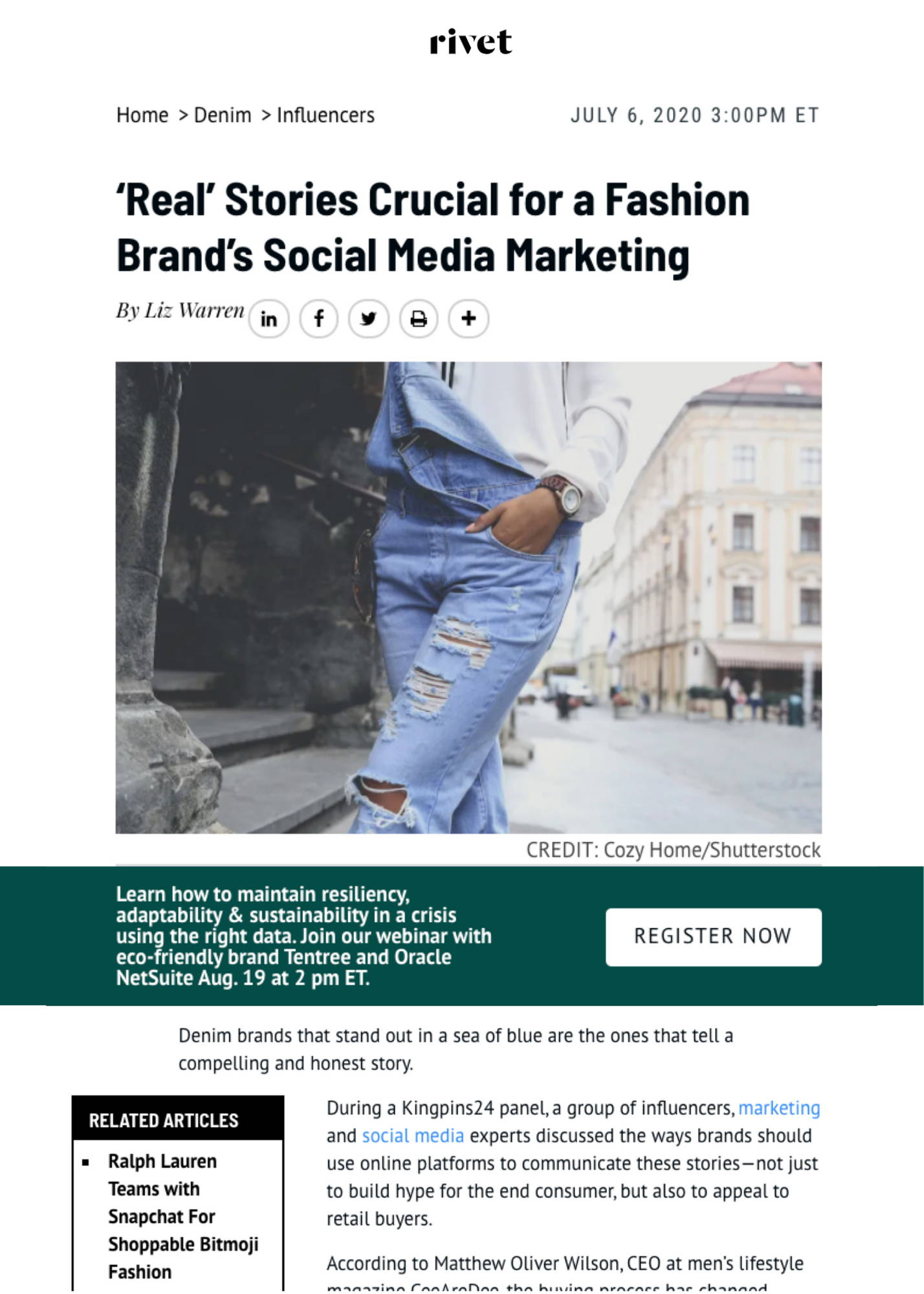 'Real' Stories Crucial for a Fashion Brand's Social Media Marketing Article