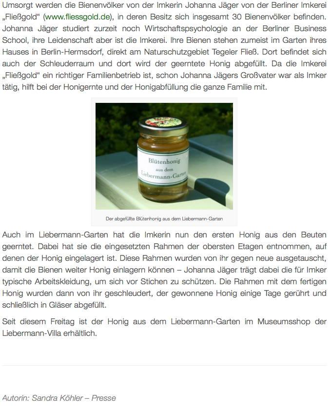 Artikel über den Bienenstandort bei der Liebermann-Villa am Wannsee