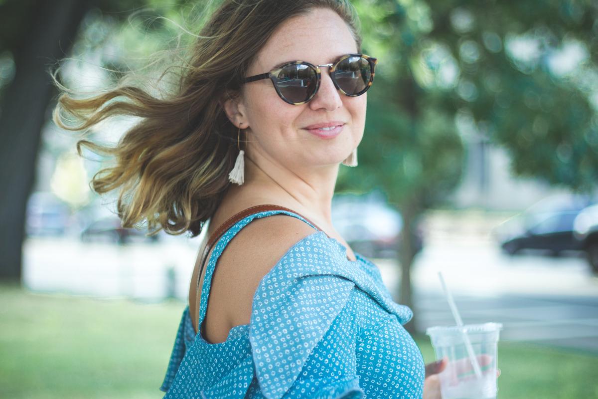 Primitive Beginnings womens summer apparel dresses travel blue off-shoulder dress Search Enclosed