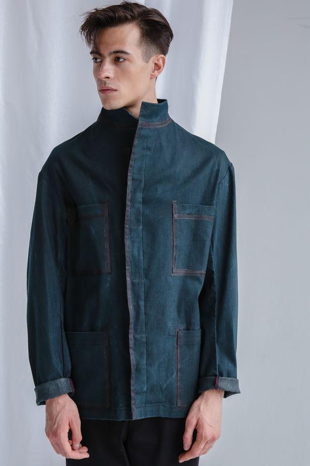 Джинсовая куртка-пиджак со стойкой зеленая