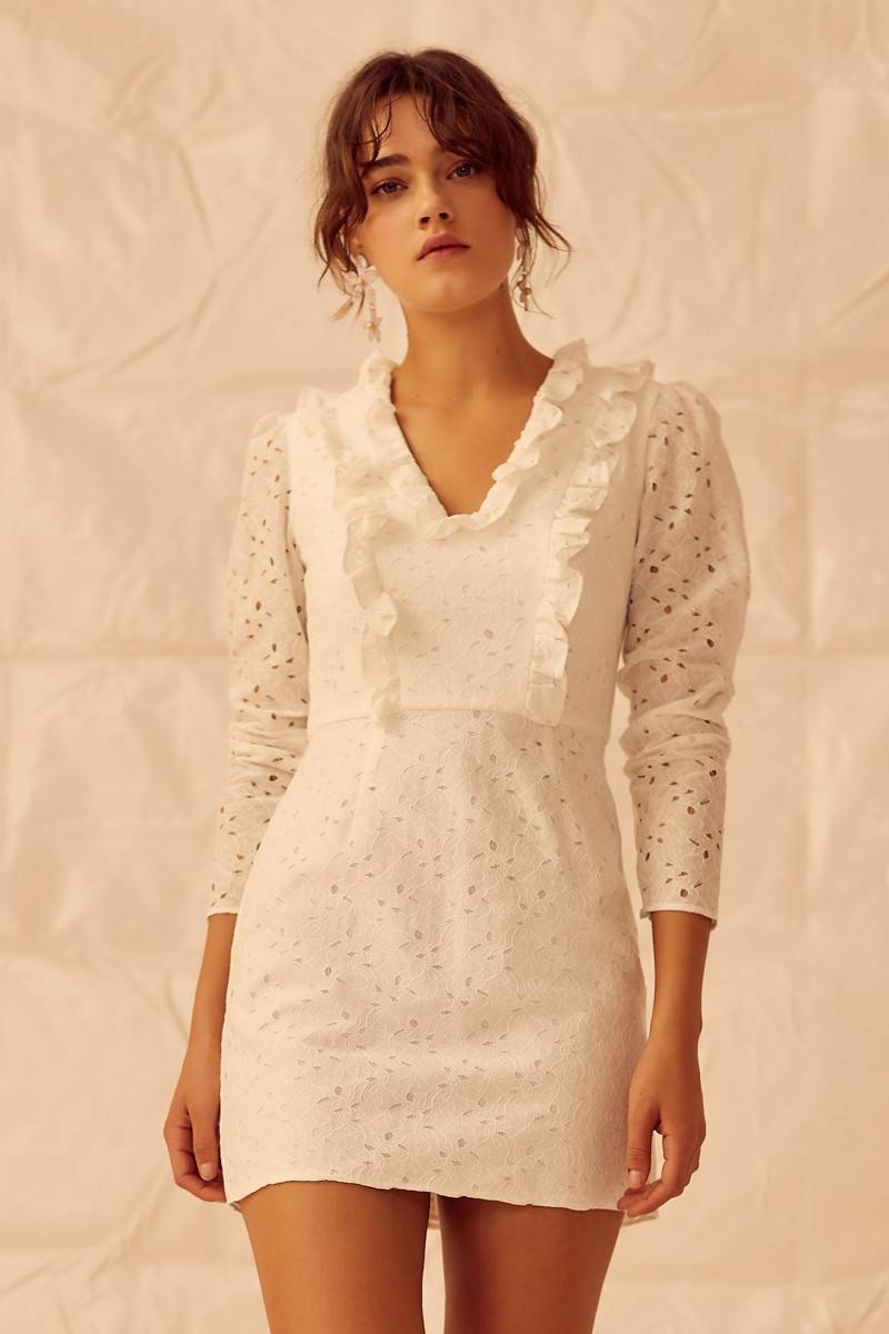 Keepsake Higher Lace Long Sleeve Mini Dress - White