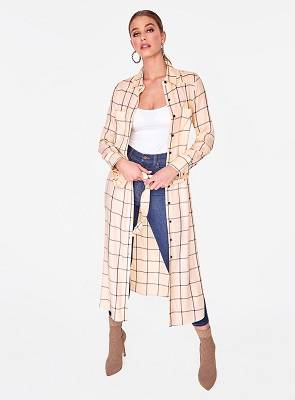 Long Sleeve Crème Button Up Duster