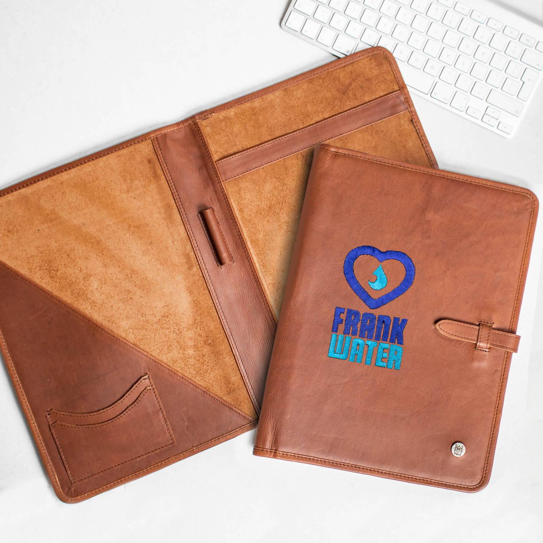 branded leather portfolio