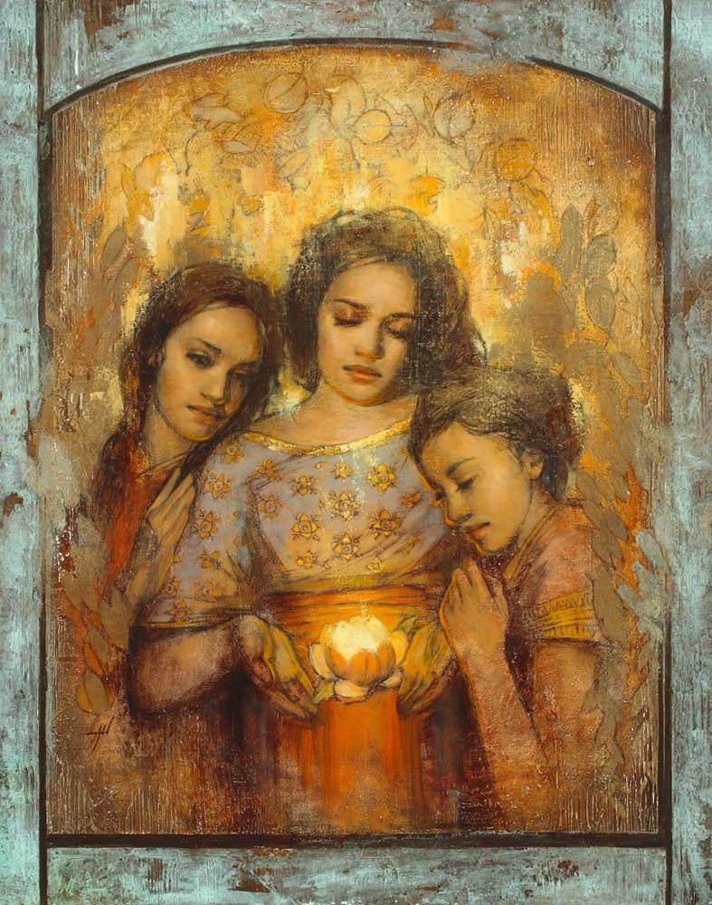 Three young women stand around a glowing flower.