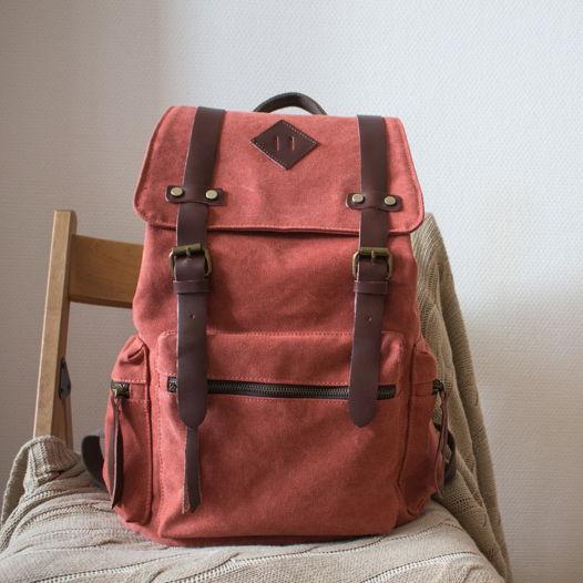Коралловый холщовый рюкзак