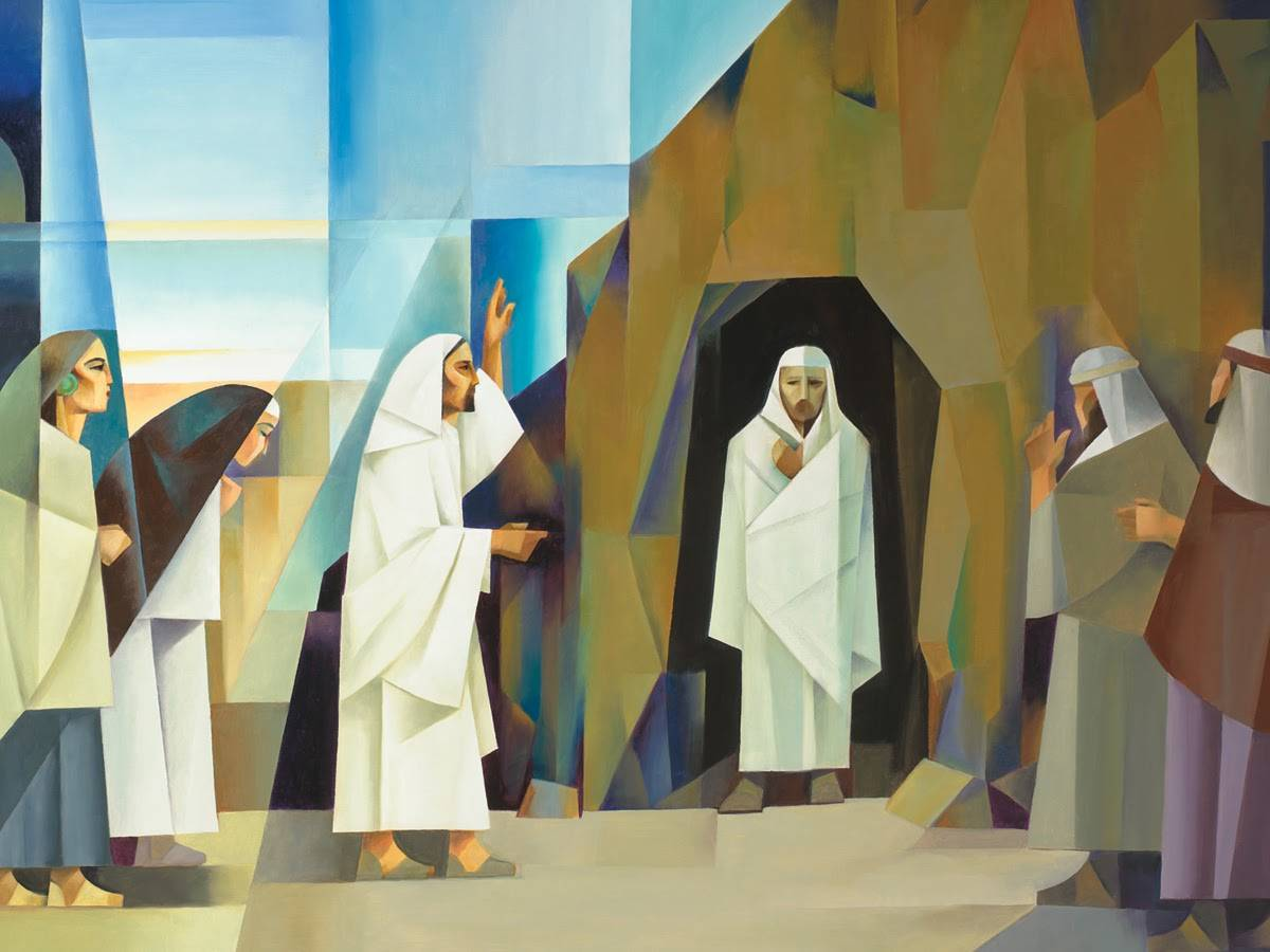 Absract art of Lazarus exiting the tomb after Jesus healed him.