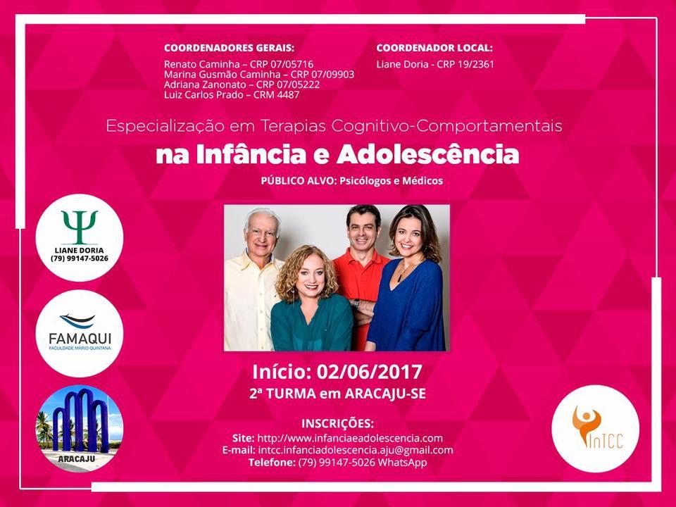 CURSO ESPECIALIZAÇÃO EM TCC NA INFÂNCIA E ADOLESCÊNCIA ARACAJU/SE