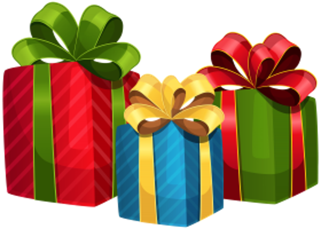 Three brightly wrapped gifts against a white background