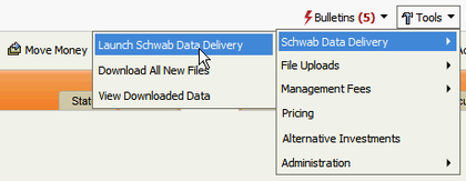 Data Delivery can be launched from the web interface