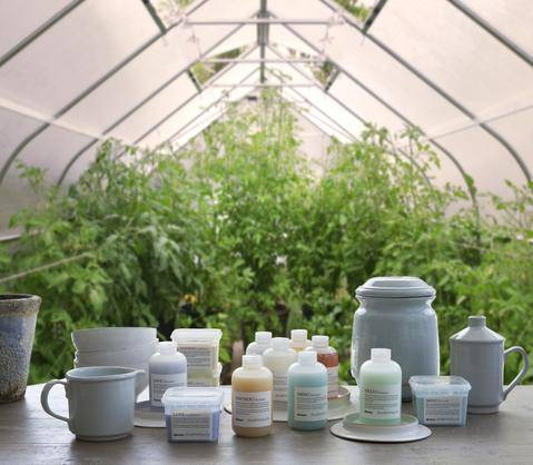 image of Davines products on a wooden table in a greenhouse