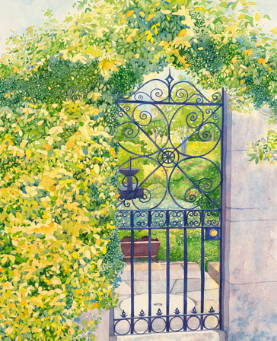 Painting of an elaborate gate surrounded by yellow flowers.
