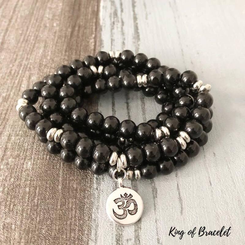 Bracelet Mala 108 Perles en Onyx Noir - King of Bracelet