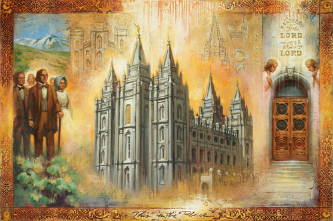 Triptych featuring the early Latter-day Saints and the Salt Lake City Temple.