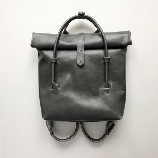 Кожаный рюкзак-сумка Rolltop Gray Marble