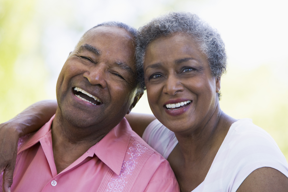 Elderly african american couple smiling