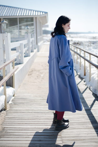 CLAUDE HAVREY Paris, 1980е, темно-голубой плащ, летнее пальто, пыльник, тренч
