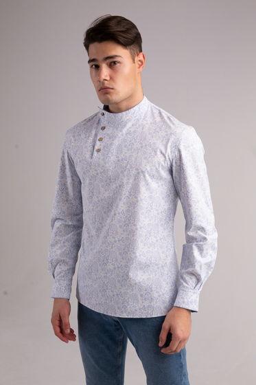 Рубашка со стойкой - Косоворотка 176-07Р
