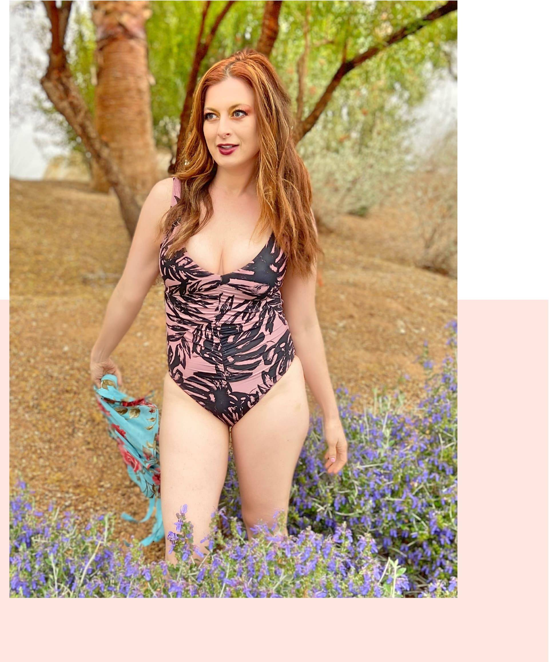 Rachel Reilly is wearing SKYE's Jennifer one-piece from the Sulawesi collection.