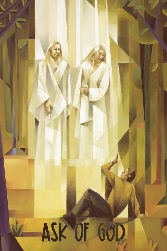 """LDS art vertical poster of the First Vision done in cubism style by Jorge Cocco. Quote reads: """"Ask of God."""""""