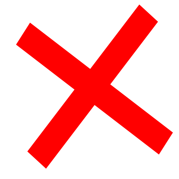 big red cross depicting a no symbol