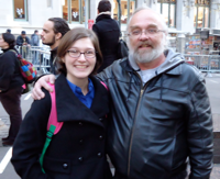 "Sarah McDaniel Dyer, who is on the committee of Occupy Student Debt, and her father, Tim McDaniel who says, ""The draft was the only lottery I ever won."""