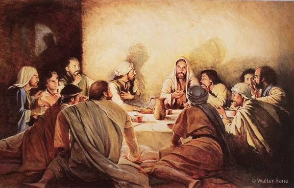 Last Supper painting showing Jesus Christ and HIs disciples sitting on the ground around a table. Judas' shadow is seen against the wall as he leaves.
