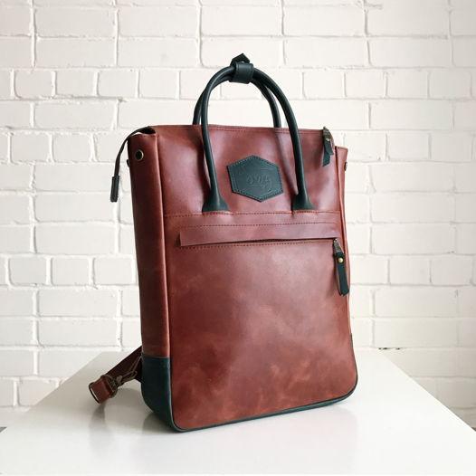 Кожаный рюкзак-сумка Urban Pack Chestnut/Green