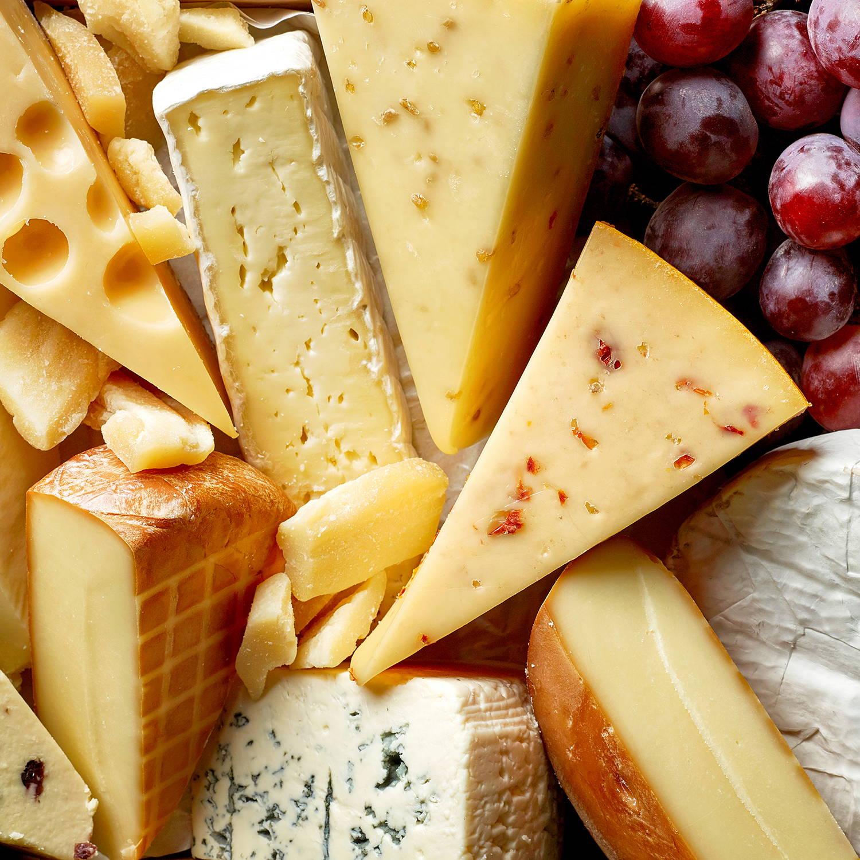 Variety of cheese & grapes