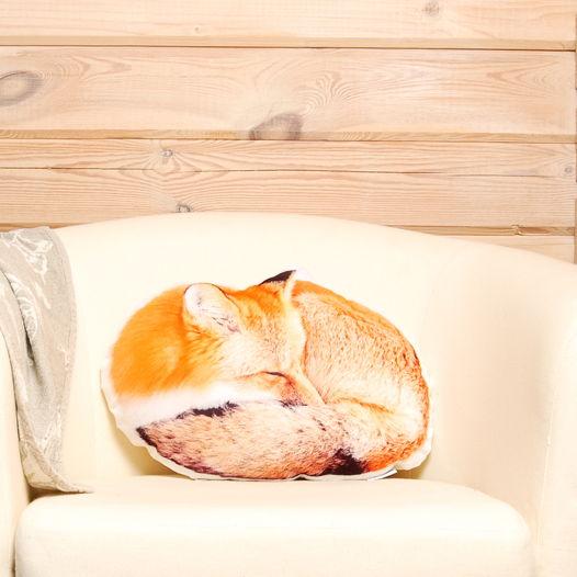 Подушка Лиса – декоративная подушка в виде спящей рыжей лисички
