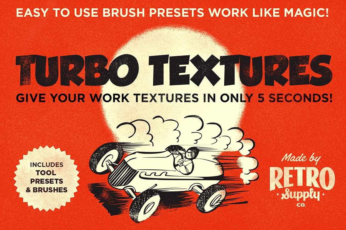 Retro texture brushes for Photoshop