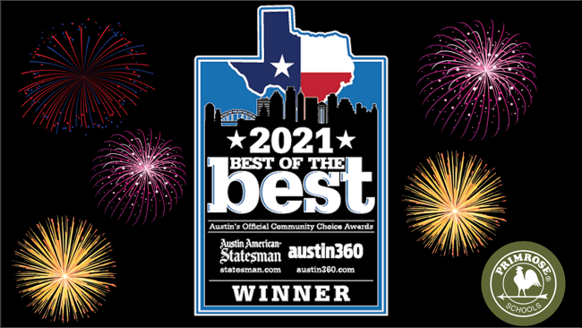 """""""2021 Best of Best"""" Winner - Austin American Statesman logo, with fireworks popping in the backround"""