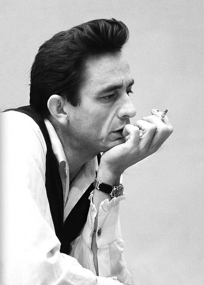 Black and white photograph of Johnny Cash