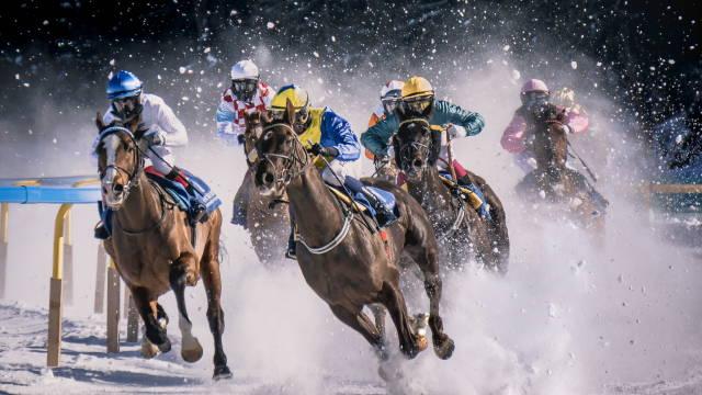 Et hestevæddeløb, som henviser til indlæggets titel: klar, parat, start