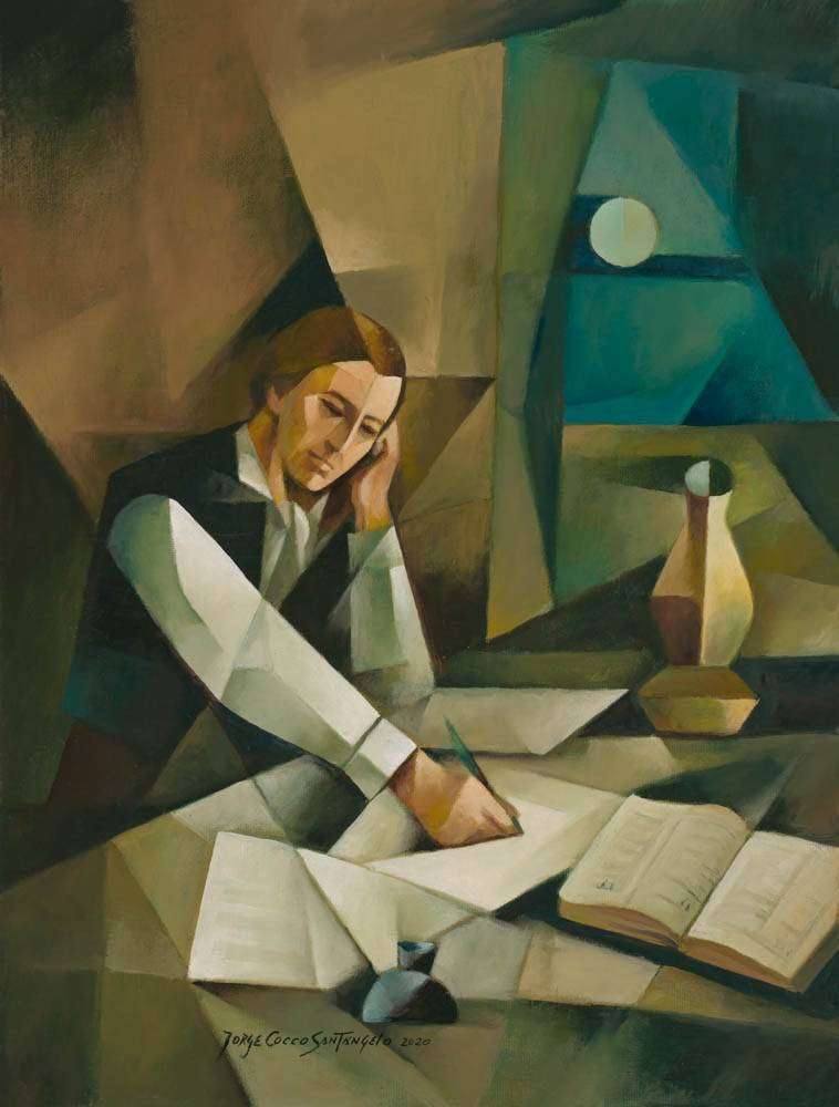 Modern painting of Joseph Smith translating the Book of Mormon.