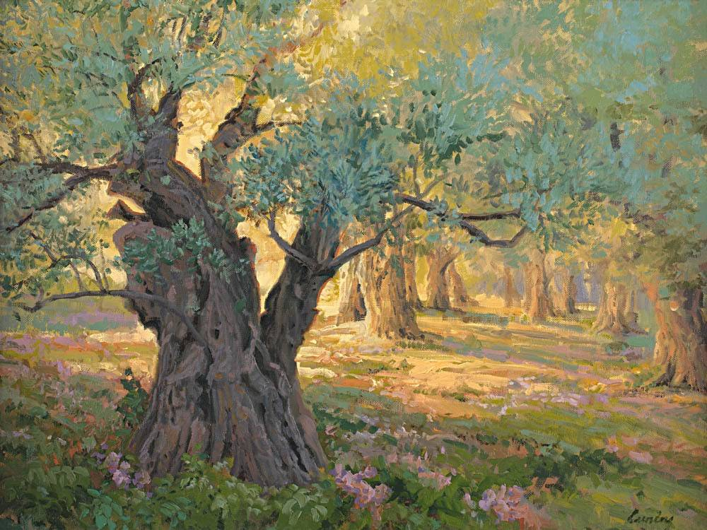 Garden of Gethsemane painting featuring olive trees.