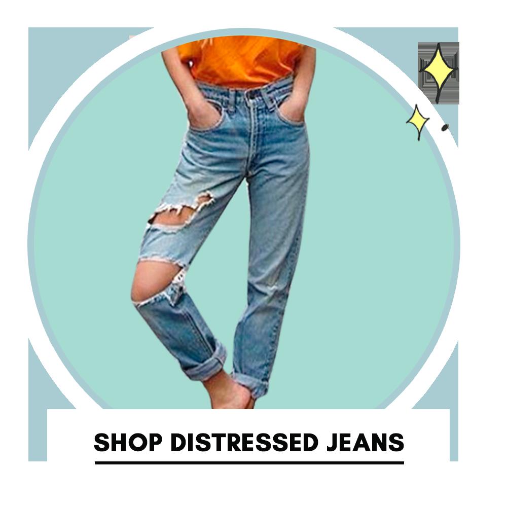 Shop distressed jeans