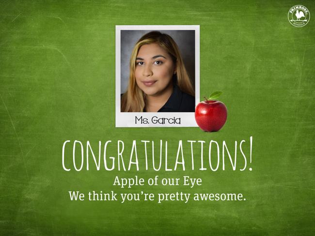 Great Teacher Apple of our Eye Preschool Teacher of the Month