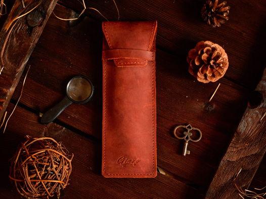 Кожаный пенал для ручек -LANCE- цвет Cognac