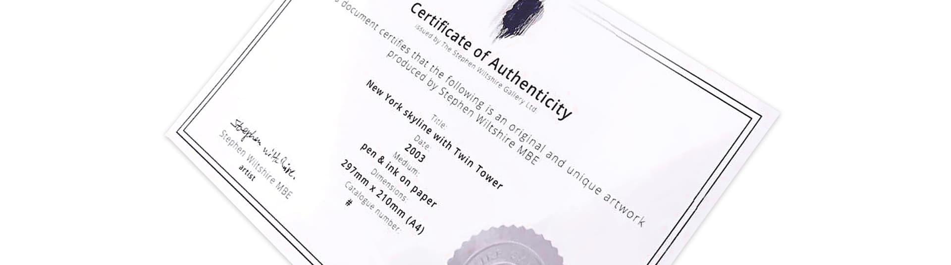 Certificate of Authenticity for Original Artworks